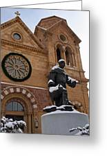 St Francis Cathedral In Santa Fe - Winter Greeting Card