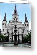 St Louis Cathedral And Fountain Jackson Square French Quarter New Orleans Accented Edges Digital Art Greeting Card