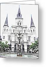 St Louis Cathedral And Fountain Jackson Square French Quarter New Orleans Colored Pencil Digital Art Greeting Card