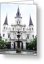 St Louis Cathedral And Fountain Jackson Square French Quarter New Orleans Diffuse Glow Digital Art Greeting Card