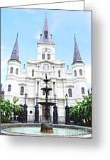 St Louis Cathedral And Fountain Jackson Square French Quarter New Orleans Film Grain Digital Art Greeting Card
