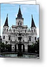 St Louis Cathedral And Fountain Jackson Square French Quarter New Orleans Fresco Digital Art Greeting Card