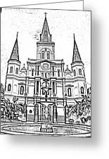 St Louis Cathedral And Fountain Jackson Square French Quarter New Orleans Photocopy Digital Art Greeting Card
