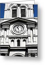 St Louis Cathedral Clock Jackson Square French Quarter New Orleans Fresco Digital Art Greeting Card