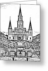 St Louis Cathedral On Jackson Square In The French Quarter New Orleans Photocopy Digital Art Greeting Card
