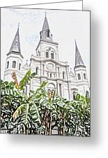 St Louis Cathedral Rising Above Palms Jackson Square New Orleans Colored Pencil Digital Art Greeting Card
