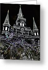 St Louis Cathedral Rising Above Palms Jackson Square New Orleans Glowing Edges Digital Art Greeting Card