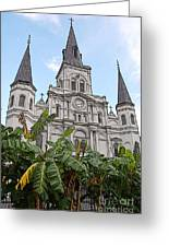 St Louis Cathedral Rising Above Palms Jackson Square New Orleans Poster Edges Digital Art Greeting Card