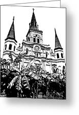 St Louis Cathedral Rising Above Palms Jackson Square New Orleans Stamp Digital Art Greeting Card