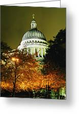 St Pauls Cathedral At Night With Trees Greeting Card