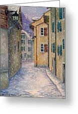 St Ursanne In Snow Greeting Card by Scott Nelson