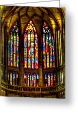 St Vitus Main Altar Stained Glass Greeting Card