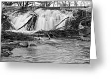 St Vrain River Waterfall Slow Flow Bw Greeting Card