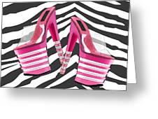 Stack 'em High Pink Platforms On Zebra Greeting Card