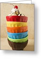 Stack Of Colored Bowls With Ice Cream On Top Greeting Card