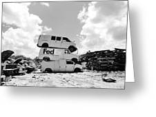 Stacked Junk Bw Greeting Card by Lynda Dawson-Youngclaus