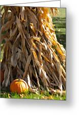 Stacked Stalks And Placed Pumpkin Greeting Card