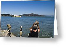 Stacking Rocks And Ferry Greeting Card