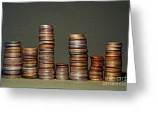 Stacks Of Various Currency Coins Greeting Card