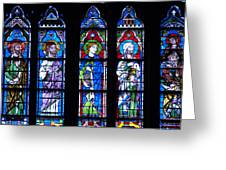 Stain Glass At Notre Dame Cathedral Parus Greeting Card