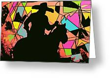 Stain Glass Cowboy Greeting Card