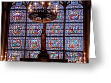 Stained Glass At Notre Dame Cathedral Greeting Card