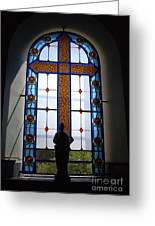 Stained Glass Cross Window Of Hope Greeting Card