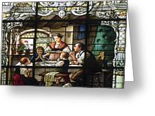 Stained Glass Family Giving Thanks Greeting Card