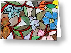 Stained Glass Wild  Flowers Greeting Card