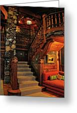Stairway In Gillette Castle Connecticut Greeting Card