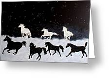 Stallions On Clouds Greeting Card