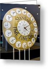 Standard Time Zone Clock. Greeting Card by Mark Williamson