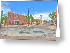 Standin On The Corner Route 66 Greeting Card by John Kelly