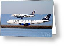 Star Alliance Airlines And Frontier Airlines Jet Airplanes At San Francisco International Airport Greeting Card