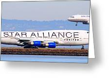 Star Alliance Airlines And United Airlines Jet Airplanes At San Francisco Airport Sfo . Long Cut Greeting Card