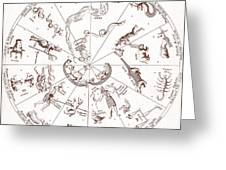 Star Map From Kirchers Oedipus Greeting Card
