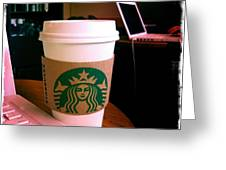 Starbucks And Computers Greeting Card