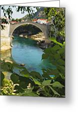 Stari Most Or Old Town Bridge Over The Greeting Card