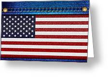 Stars And Stripes Denim Greeting Card by Jane Rix
