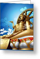 Statue Of Big Buddha On Blue Sky. Greeting Card