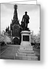 Statue Of David Livingstone Outside Glasgow Cathedral Scotland Uk Greeting Card by Joe Fox