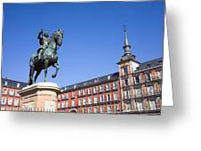Statue Of King Philip IIi At Plaza Mayor Greeting Card