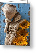 Statue Of Woman With Sunflowers Greeting Card