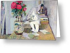 Statuette By Maillol And Red Roses Greeting Card