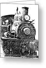steam Engine pencil sketch Greeting Card