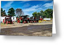 Steam Engines Lined Up Greeting Card