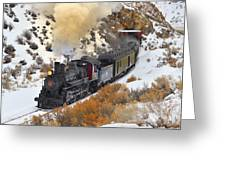 Steam Scene In The Snow Greeting Card