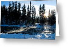 Steaming River In Winter Greeting Card