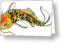 Steampunk Koi Greeting Card by Nora Blansett