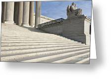 Steps And Statue Of The Supreme Court Building Greeting Card by Roberto Westbrook